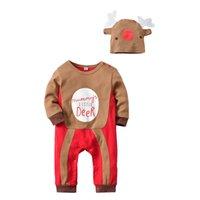 zwei jungen mädchen babys großhandel-Weihnachten Baby Kinder Kleidung Strampler Outfits Langarm Gedruckt Kleinkind Mädchen Jungen Kleidung Sets Niedlichen Zweiteiler Overall