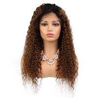 Wholesale LIN MAN Lace Front ombre color Hair Wigs Pre Plucked remy Brazilian Curly Human Hair Frontal Wig Bleached Knots