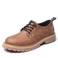 Wholesale italian shoes yellow - New Fashion Italian Men Shoes Luxury Classic Men Leather Shoes Men Oxfords Designer Waterproof Martin Outdoor Footwear
