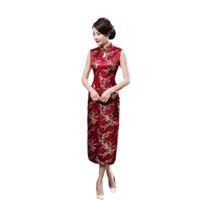 ingrosso abito matrimonio rosso-Abito lungo Qipao Cheongsam vestito da partito Mujeres Vestido Dimensioni delle donne di estate rossa cinese tradizionale S M L XL XXL XXXL 020.210