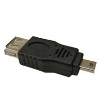 otg fişi toptan satış-Siyah USB 2.0 A Dişi Mini USB B 5Pin Erkek Tak OTG Ana Adaptörü Dönüştürücü Konnektör