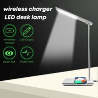 Wholesale chinese touch lamps - LED Aluminum Desk Lamp Touch Control Color Change gift Lamp with QI standard for iphone Wireless charger and usb output port built-in