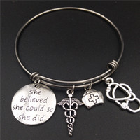 Wholesale Bracelets Ideas - Stainless Steel Expandable Wire Bangle Nurse Graduation Jewelry Gift Idea Caduceus Cap Stethoscope Charms DIY Girls Bracelets