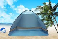 carpa doble al por mayor-Pesca Playa Viaje Césped Libre Build tiendas al aire libre protección UV SPF 50+ tienda de una sola capa 10 unids / lote 3-7 días envío rápido 2018