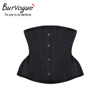 Wholesale curves shorts - Burvogue Underbust Steampunk Corset Waist Control Gothic Corsets Cincher With Curved Hem Bustiers Embroidery Short Waist Trainer