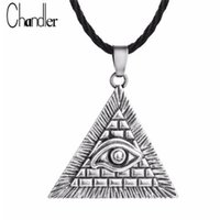 Wholesale egypt charms - Egyptian Egypt Pyramid All-Seeing Evil Eye Illuminati Antique Silver Charm Pendant Necklace For Men Boys Fashion Bijoux