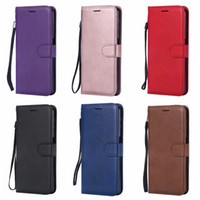 Wholesale iphone plus wallet book case for sale - PU Wallet Leather Case For Galaxy A7 A750 A9 J2 CORE J4 J6 Plus Plain Phone Flip Cover ID Card Slot TPU Luxury Book Pouch Strap