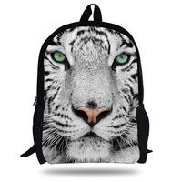 mochilas blancas al por mayor-16-inch Animal Animal Bag White Tiger Head Mochila niños bolso de escuela para niños de 7-13 años Mochila Mochila Escolar Menino