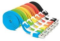 iphone flach großhandel-Großhandelsnudel-flaches Mikro-USB-Ladegerät des Ladekabels V8 Ladekabel für android Samsung-Daten-Synchronisierungs-Schnur-Linie mit Kleinverpackungen DHL geben frei