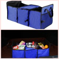 Wholesale oxford fabric storage box - Foldable Oxford Car Storage Compartment Multifunctional Thermal insulation Reserve Large Capacity Container Vehicle Storage Boxes AAA64