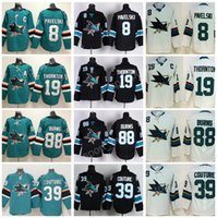 Wholesale Flashing Yellow - 2018 AD Ice Hockey San Jose Sharks Jersey 8 Joe Pavelski 19 Joe Thornton 39 Logan Couture 88 Brent Burns Green Black All Stitched For Men