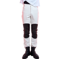 Wholesale Fly Jazz - Tide male slim PU leather long pants red white fashion leather trousers nightclub bar costumes rock DJ jazz performance costumes