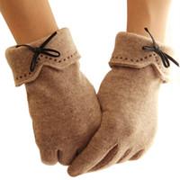 многоцветные пальцы теплые перчатки оптовых-Женщины теплые перчатки сенсорный экран перчатки пять пальцев шерсть флис зимние перчатки многоцветные
