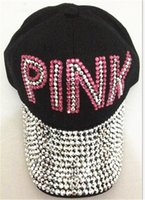 Wholesale point drill - Women Love Pink Letter Hats Drill Diamond Point Cowboy Diamond Baseball Caps Casual Hip Hop Sun Hats for Boys Girls New