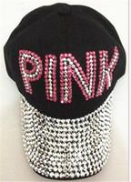 Wholesale love balls for women - Women Love Pink Letter Hats Drill Diamond Point Cowboy Diamond Baseball Caps Casual Hip Hop Sun Hats for Boys Girls New