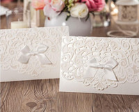 Wholesale christmas party invitations resale online - Lace Wedding Invitations Ribbon Party Invitation White Convite De Casamento Free Personalized Printing Wedding Card Accessory
