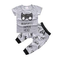 bebek batman kıyafetleri toptan satış-Moda Erkek Bebek Yaz Giyim Pamuk Moda 2 adet Suit Aslan Batman Yenidoğan Giyim Seti Bebek Hediye Bebek Giyim Bebe Suit