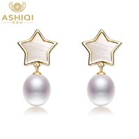 натуральный жемчуг серьги падение оптовых-ASHIQI Real Freshwater Pearl Earrings Natural shell stars drop earrings 925 sterling silver jewelry For Women gift