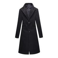 ingrosso cappotto di lana-New 2018 Winter Cloth Mens Slim Black Business Business Trench più lunghi / Giacche da uomo in misto lana fine panno di lana