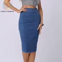 9fc763df6ecaf Chictorso Sexy High Waist Denim Skirts Blue Bodycon Pencil Skirt Women Plus  Size Summer Skirt Long Denim Skirt Women Saia Midi S916