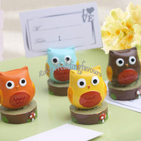 Wholesale owl baby shower party favors for sale - Group buy 100pcs sets quot Whooo s the Cutest quot Owl Place Card Holder Baby Shower Kids Party Resin Card Clip Wedding Party Favors Supplies