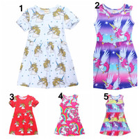 Wholesale cute skirts for summer - 5 styles cute cartoon horse dress for kids girls short sleeve casual summer dress baby girl unicorn skirts children cotton clothes