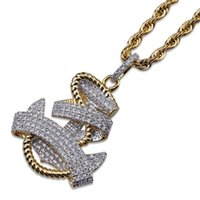 Wholesale long anchor necklace - Hip Hop Iced Out New Fashion Gold Color Plated Navy Crystal Rhinestone Anchor Rudder Pendant Long Chain Necklace