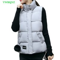 Wholesale Womens Down Vest L - Women Autumn Winter Vest Waistcoat New Womens Long Vest Sleeveless Jacket Standing collar Plus size Down Cotton Warm A524