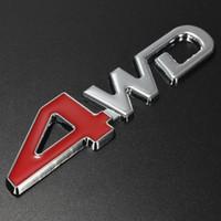 Wholesale white color windows for sale - 12 cm cm Metal Chrome Car D WD LOGO Red Displacement Emblem Badge Auto Motor Sticker Chrome Color