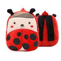 Wholesale kindergarten gifts girl - Cartoon Plush Ladybug Backpack Animal Zoo Children Schoolbag Toddler Bags Kindergarten girls boys Gifts Nursery Supplies