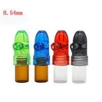 Wholesale box dispenser - Acrylic Cap Glass bottle Snuff Snorter Dispenser Bullet Rocket Snorter Glass Pill box Vial with Clear Bottoms