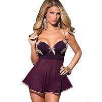 Wholesale Lingerie Sexy Nuisette - Wholesale- Hot Lingerie Mesh Babydoll G String Dress See Through Plus Size Nuisette Femme Sexy Sleepwear Nightwear Erotic Underwear Chemise