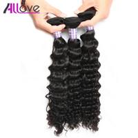 Wholesale best human hair wave resale online - Allove Best A Deep Wave Human Hair Bundles Brazilian Hair Price Deep Wave Cheap Peruvian Human Hair Extensions Indian
