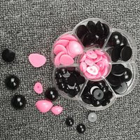 Wholesale Plastic Eyes For Dolls - Round Flat Black Eyes + Triangle nose Plastic Eyes for Dolls Making Toys Teddy Bear Dolls Eyes Amigurumi Making Doll Accessories