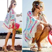 Wholesale fringe cape - New Women Boho Fringe Floral Kimono Cardigan Tassels Beach Cover Up Cape Jacket