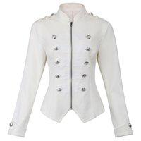 militär mantel buttons großhandel-Viktorianische gotische Knöpfe verziert Reißverschluss Front Military Jacke Feathering Oberbekleidung Harajuku Slim Buttons Streetwear Mantel