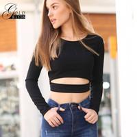 schwarze gold-langarm-crop-top großhandel-Gold Hände Frauen Langarm Solid Black Slim T-shirts Aushöhlen Streetwear Crop Tops Weibliche Mode Kurze Mode T-shirts