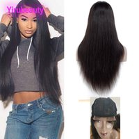 cierres para pelucas al por mayor-Indian Raw Human Hair Virgin Lace Lace Wigs 4X4 Lace Closure Wigs 8-26inch Free Part Indian Virgin Hair Products 4 by 4 Lace Closure Wigs