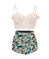 Wholesale sexy plus size swimwear for sale - Women Summer Bikinis Plus size Sexy Ruffed Swimwear Separates Floral Geometric Print Swimsuits High Waist Vintage Style