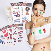 Wholesale arm flowers - Adult Tattoo Sticker Waterproof 3D Flower Arm Face World Cup National Flag Creative Customize Temporary Children's Tattoo Stickers G716R