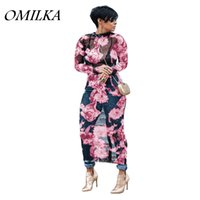 Wholesale Floral Mesh Dress - OMILKA 2018 Spring Women Long Sleeve O Neck Printed Mesh Hollow Out Dress Sexy Pink Blue Purple Plus Size Club Party Beach Dress