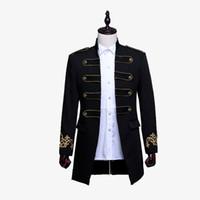 chaquetas para hombre al por mayor-Los hombres doble botonadura Inglaterra largo del estilo Slim Fit Blazer Diseño boda del novio de la chaqueta del juego para hombre del desgaste de la etapa del traje de cantante