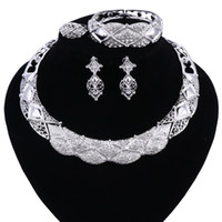 Wholesale Tibet Silver Jewellery - Jewelry Set Necklace and Earrings Sets Designer Vintage African Costume Women Wedding Accessories Silver Color Jewellery