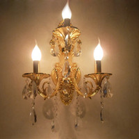 Wholesale modern sconce candle for sale - Fashion Lamps crystal wall lamp candle double slider wall lamp living room wall lamp stair Golden Modern crystal lighting Sconce