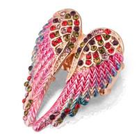 ingrosso le ali antiche-1pc regolabile Angel Wings anello Boho Punk Biker gioielli d'oro antico colore Vintage strass Anelli per le donne degli uomini