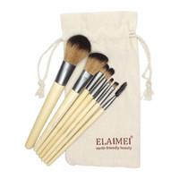 bambu makyaj fırçaları ele toptan satış-SıCAK Profesyonel Makyaj Fırçalar 7 adetgrup bambu kolu makyaj fırçalar set kozmetik fırça Vakıf kitleri araçları