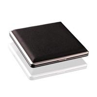 ingrosso caso di scatola nera di sigaretta nera-Tasca in pelle nera in metallo tabacco 20 scatola portasigarette portasigarette pubblicitario regali aziendali QW8452