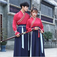Wholesale red hanfu - Unisex Original Hanfu GuangDong embroidered swords man woman style uniform Special costume Canton embroidery Top+ Skirt Red Blue