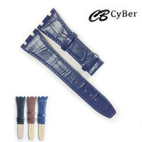 Wholesale black leather watchbands - Cbcyber 26mm Genuine Leather Watchband for brand watches with buckle,men's watches strap for luxury wristwatch