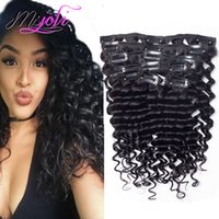 Wholesale full head clip curly hair resale online - Brazilian Unprocessed Deep Wave Curly Inch Clip in Hair Extensions g Full Head Peruvian Remy Human Hair
